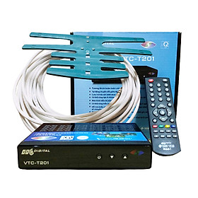 Đầu thu kỹ thuật số DVB T2 VTC T201 kèm Anten DVB T2 - Hàng chính hãng