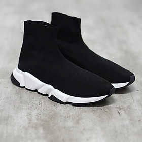 Giày sneaker cổ chun SPEED đen đế trắng