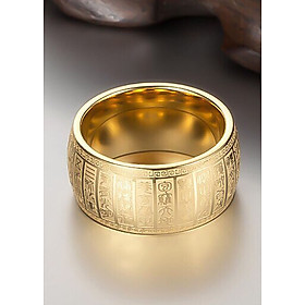 Nhẫn Đại Kim Quang Khắc Chú Kim Tiền Jewelry - Hợp Tất Cả Mệnh - Mang Đến Bình An - Xua Đi Vận Rủi