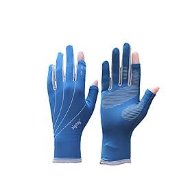 Găng tay hơ ngón chống nắng UPF50+ xanh xám Zigzag GLV00805