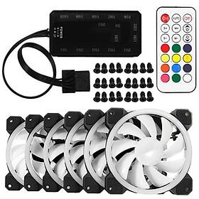 Bộ 5 Fan case Led RGB + Tặng Hub và Remote - Hàng Nhập Khẩu