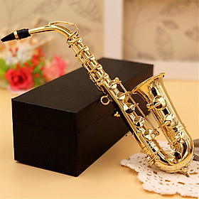 Mini Saxophone Model Musical Instrument Copper Brooch Miniature Desk Decor Display with box + bracket