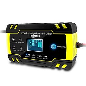 Máy sạc bình ắc quy 12V-24V/8A kèm khử sunfat phục hồi ắc quy thông minh tự ngắt khi đầy chống ngược cực có LCD và quạt tản nhiệt sạc được cho cả bình khô bình ướt từ 4ah-150Ah