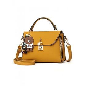 Hình đại diện sản phẩm Túi xách tay thời trang nữ một màu tặng kèm gấu TX065- LALA túi xách Quảng Châu