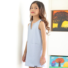Đầm Bé Gái Kika Dáng Xuông Nách Vuông K083 - Xanh