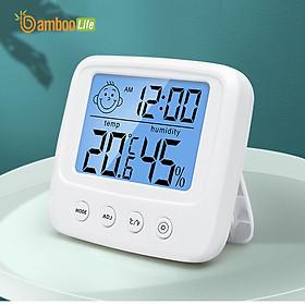 Nhiệt ẩm kế Bamboo Life Nhiệt kế điện tử đo nhiệt độ phòng Ẩm kế điện tử đo độ ẩm phòng ngủ thông minh có đèn nhỏ gọn chính xác hàng chính hãng