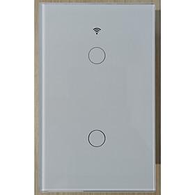 Công tắc cảm ứng Wifi thông minh 2 nút  điều khiển từ xa qua Smartphone - HCN màu trắng - Hàng nhập khẩu