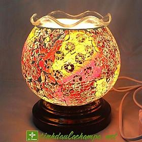 Đèn điện xông tinh dầu pha lê màu đỏ cam TN21