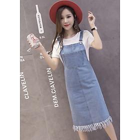 Đầm Yếm Jean đẹp có túi Doremon trước và chân đầm thì rách te tua dễ thương (Xanh đậm, Xanh nhạt) J001