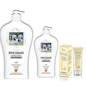 Combo sữa tắm chiết xuất sữa dê Five Goats 1000g + Sữa tắm chiết xuất sữa dê Five Goats 500g + Kem trang điểm dưỡng trắng BB01 50g
