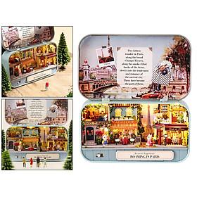 DIY Dollhouse Kit Miniature 3D Theater Retro Tin Box Theatre Models Box with LED Light Creative Craft Sweet Dream House Toy