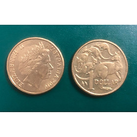 Đồng xu Úc 1 dollar Nữ hoàng Elizabeth II, bầy Kangaroo