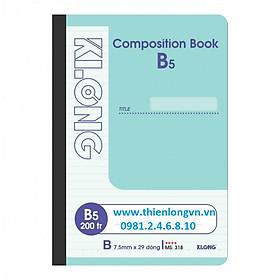 Sổ may dán gáy B5 - 200 trang; Klong 318 bìa xanh