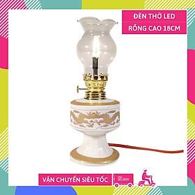 Đèn thờ điện led cúng truyền thống trụ tròn vàng cung đình 18cm sáng rực rỡ - Có dây + bóng sẵn