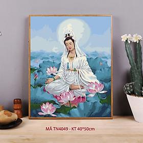 Tranh tô màu theo số sơn dầu số hóa Phật Quan Âm hoa sen TN4049