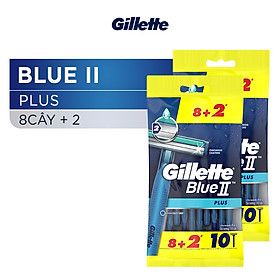 Dao Cạo Râu Gillette Blue II 2 Gói Bộ 8 Cây Tặng 2