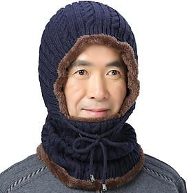 Bộ khăn mũ len liền cổ lót lông cho người lớn tuổi cực ấm - khan mu len lot long