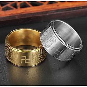 Nhẫn xoay Bát Nhã Tâm Kinh khắc chữ Vạn - Nhẫn phong thủy Hán ngữ may mắn bình an Ri99