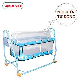 Nôi Võng Tự Động Em Bé Giá Rẻ NV20X VINANOI - Sức Đưa 20kg - Lồng Nôi Màu Xanh - Khung Võng Thép Màu Xanh