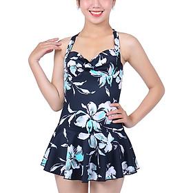 Bikini 1 Mảnh Monica Họa Tiết Hoa Váy Xòe BIT 3004 - Trắng Đen (Free Size)