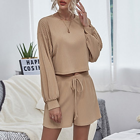 Women Pajama 2 Piece Set O-Neck Lantern Sleeve T-shirt Shorts with Drawstring Tops Pullover Short Pants Casual Home Wear