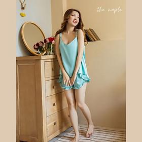 Bộ lụa mặc nhà tay cánh tiên The Maple Màu xanh ngọc