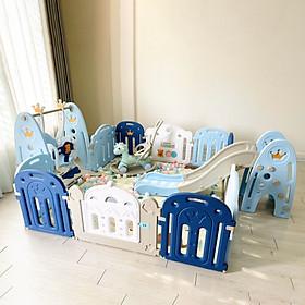 Set 6 món quây full Holla vương miện cao cấp phiên bản 2020 gồm quây cũi, cầu trượt, xích đu, ngựa bập bênh, thảm, bóng, tiêu chuẩn Châu Âu an toàn cho bé
