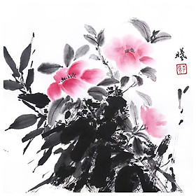 Tooarts Shadow of Leaves Chinese Flower Painting Wall Art Artist Hand-Painted Chinese Brush Painting Traditional