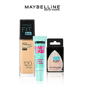 [Bộ trang điểm] Kem nền kiềm dầu chống nắng Fit Me, kem lót mịn da Baby Skin & mút tán nền cao cấp Maybelline New York - 120 CLASSIC IVORY