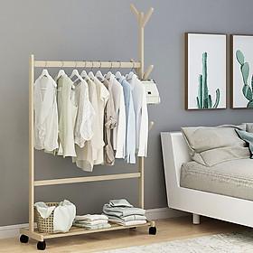 Giá treo quần áo gỗ tre có bánh xe, khung treo quần áo, móc treo quần áo MGK042