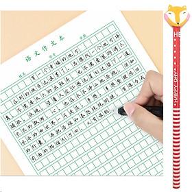 Combo 5 xấp giấy tập viết chữ Hán đường Kẻ Ô Vuông nhỏ (màu xanh) dùng để luyện viết chữ Nhật Hàn Trung dành cho người mới học + tặng 1 bút chì cao cấp có đầu gôm (vỏ bút chì màu ngẫu nhiên)