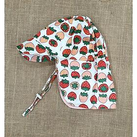 Mũ che gáy, mũ có gáy kiểu Nhật hình quả dâu đáng yêu cho bé gái từ 1-12 tuổi. Mũ chống nắng chống tia UV, đi biển, đi dã ngoại