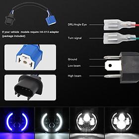 Car Headlamp 7inch 200W Round LED Headlights 6000K 20000LM headlight For Jeep Wrangler