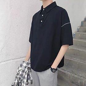Áo thun polo ngắn tay có cổ viền tay nam, nữ ( 2 màu trắng/đen) from rộng, hình thật