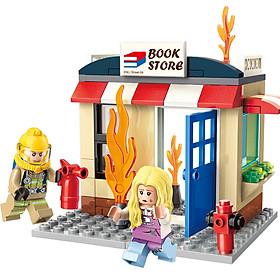Lắp ráp đồ chơi mô hình lính cứu hỏa chữa cháy nhà sách cứu người