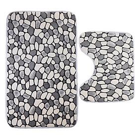 2pcs Polyester Fiber Non Slip Toilet Bathmats Carpet Contour Mat Combo