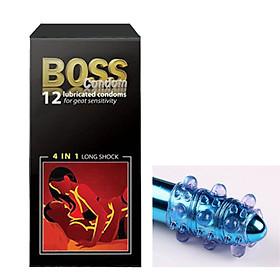 bao cao su boss 4 in 1, gân gai, siêu mỏng, kéo dài thời gian, hộp 12 cái tặng bcs Đôn