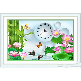 Tranh thêu chữ thập Đồng hồ Hoa lá (48*33cm) chưa thêu
