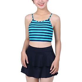 Bikini 2 Mảnh Monica Áo Yếm Đan Dây Lưng BIT 3016 - Sọc Xanh Đen (Free Size)