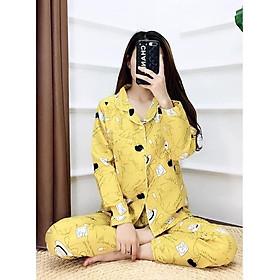 Bộ Pijama nữ mặc nhà, đồ ngủ, thiết kế nhiều hình đẹp dễ thương ( giao ngẫu nhiên )
