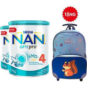 Combo 2 Lon Sữa Bột Nestlé NAN OPTIPRO 4 HM-O 1.7kg + Tặng Vali Kéo Sóc (Màu ngẫu nhiên)