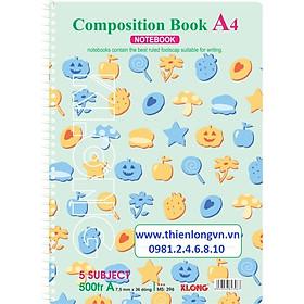 Sổ lò xo đơn A4 - 500 trang; Klong 396 xanh ngọc