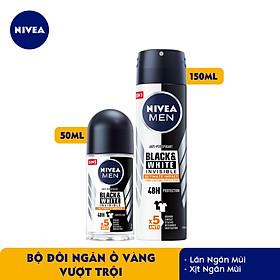 Bộ đôi Lăn Ngăn Mùi NIVEA MEN Black & White Ngăn Vệt Ố Vàng Vượt Trội 5in1 (50ml) - 85392 & Xịt Ngăn Mùi NIVEA MEN Black & White Ngăn Vệt Ố Vàng Vượt Trội 5in1 (150ml) - 85388