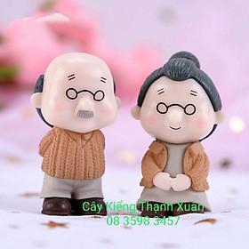Trang trí tiểu cảnh, Cặp đôi ông bà đứng mặc áo len trang trí chậu cây cảnh sen đá xương rồng mini , Phụ kiện trang trí cây và hoa, bể cá