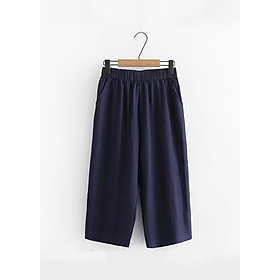 Quần Culottes Nữ Vải Trơn Lưng Thun GQK122 - Xanh Đậm (Free Size)