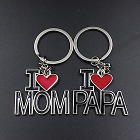Móc Khóa I Love Mom, I Love Papa