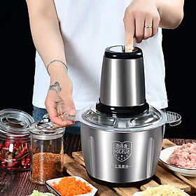 Máy xay thịt đa năng cối inox 304 4 Lưỡi Đa Năng, Công suất 250W- Xay thịt, xay tỏi ới, xay rau củ quả