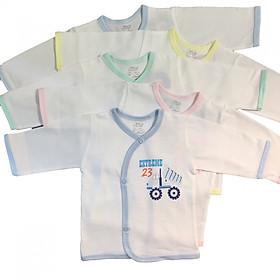 Combo 5 áo tay dài cài xéo trắng JOU-TDCX-TRANG cho bé sơ sinh, chất vải 100% cotton mềm mịn, xuất xứ Việt Nam