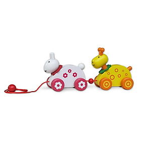 Đôi bạn hươu thỏ dễ thương | Trò chơi kéo xe | Đồ chơi gỗ Việt Nam