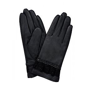 Găng tay nữ da dê thật màu đen EGW123